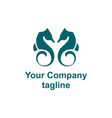 simple couple sea horse company logo vector image vector image