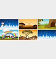 six different scenes with animals and trees vector image