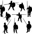 Spartan hoplite silhouettes vector image