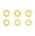 sun icon set isolated symbol vector image