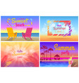 sunset beach party hello summer time posters set vector image