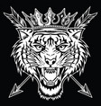 tiger angry face head king vector image vector image