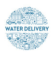 truck and bottles or gallons water delivery vector image vector image