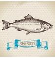 Vintage sea background Hand drawn sketch seafood