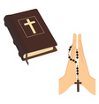 Bible and praying hands vector image