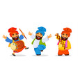 funny dancing sikh man celebrating holiday set vector image