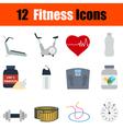 Flat design fitness icon set vector image