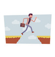man jumping over the abyss vector image