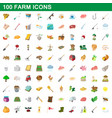 100 farm set cartoon style vector image