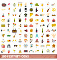 100 festivity icons set flat style vector image vector image