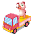 A pig in the truck vector image vector image
