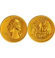 american washington quarter 25 cent gold coin vector image vector image