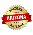 Arizona round golden badge with red ribbon vector image vector image