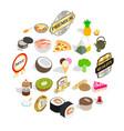 bad food icons set isometric style