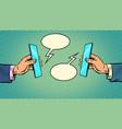 business online communication smartphone vector image vector image