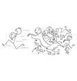 cartoon man holding a pillow running away vector image vector image