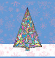 christmas tree hand drawn new year vector image