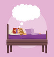 colorful scene girl with sleep mask dreaming in vector image vector image