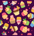 cupcake pattern gourmet sweet baked products with vector image vector image
