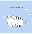 cute cartoon kawaii cat with clouds vector image vector image