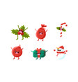 Cute christmas cartoon characters set mistletoe
