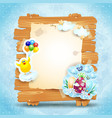 easter signboard on blue background vector image vector image