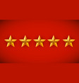 five golden stars on red background rating rank vector image vector image