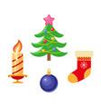flat winter holiday christmas symbols set vector image