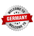 Germany 3d silver badge with red ribbon vector image vector image