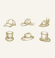 hand drawn hats collection vector image