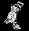 hand tattoo artist black drawing vector image
