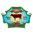 label for packing beef with cow vector image vector image