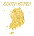 map of south korea in golden with gold yello vector image