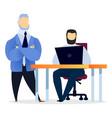 men teamwork cooperation get best service vector image vector image