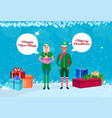 mix race couple man woman wearing elf costume chat vector image vector image