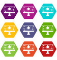 monitor chip icon set color hexahedron vector image vector image