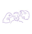 mother and father kissing their child comics art vector image