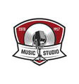 music studio emblem template with retro vector image vector image
