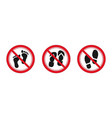 no foot slipper and shoes sign red prohibitation vector image vector image