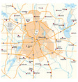 overview and street map texas city dallas vector image vector image