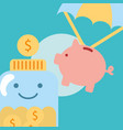 piggy bank flying jar with coins charity vector image