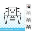 robot transformer simple black line icon vector image vector image
