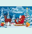santa christmas gifts tree and reindeer sleigh vector image vector image