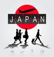 Silhouette people on japan digital board vector image vector image