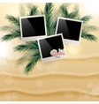 Solar gierki day with photos on the Golden sand on vector image