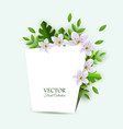 spring white flowers with leaves poster vector image vector image