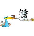 Stork Delivering A Newborn Baby Boy vector image