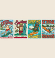 surfing vintage colorful posters vector image vector image