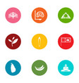 swimming environment icons set flat style vector image vector image