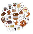 traditional festive hand drawn desserts vector image